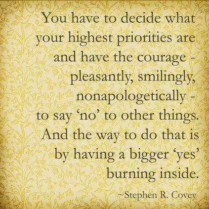 Priorities - saying no